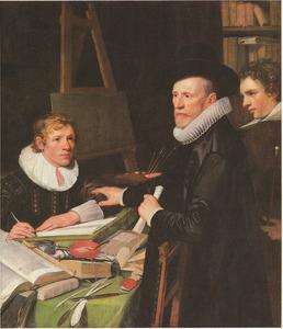 Portret van Pieter van Veen (1563-1629) met zijn zoon Cornelis van Veen (1602-1687) en zijn klerk Hendrick Borsman (....-....)