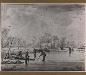 Winterlandschap met kolfspelers op het ijs
