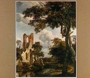 Landschap met de ruïne van de kapel van Eikenduinen