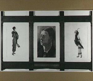 Zelfportret van de schilder Jan Hingman met aan weerszijde zes tekeningen van mannequins