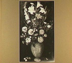 Bloemstilleven met rozen en lelies in een vas net grotesken