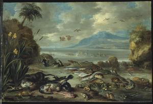 Otter, pinguins, krokodillen en vissen op de oever bij een waterval