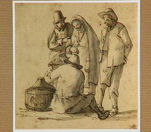 Vier figuren bij een mand met vogels