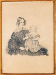 Portret van Angélique Pauline Quarles van Ufford (1813-1898) met haar oudste zoon Adolph Charles Bentinck (1837-1928)