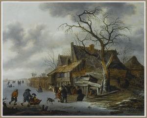 Winterlandschap met schaatsers bij een boerderij