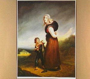 Vrouw met twee kinderen op een landweg