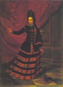 Portret van keurvorstin Anna Maria Luisa van de Palts i in Spaans kostuum