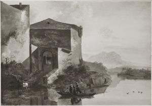Italianiserend landschap met een huis in de bocht van een rivier