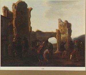 Kegelende boeren voor een ruïne