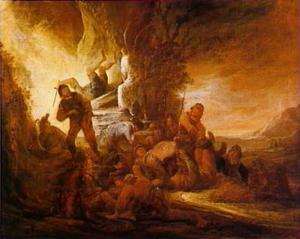 De engel wentelt de steen van het graf van Christus (Mattheus 28:2-4)