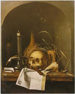 Vanitasstilleven met schedel en kandelaar, in een nis