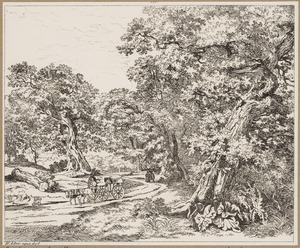 Boslandschap met karrenvoerder