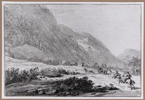 Berglandschap met overval op een huifkar
