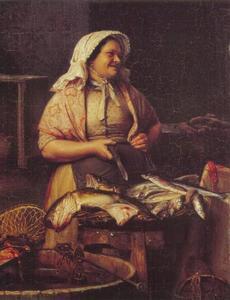 Een marktkoopvrouw met  vis
