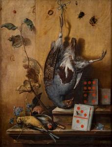 Stilleven met een patrijs, kleine vogels en dominos