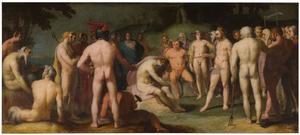 Jupiter spoort Apollo aan het commando over de zonnewagen na de dood van Phaeton weer op zich te nemen (Ovidius, Metamorfoses 2:381-400)