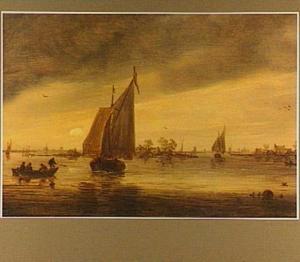 Schepen op het Haarlemmermeer bij zonsopgang; op de achtergrond het silhouet van de Sint Bavo te Haarlem
