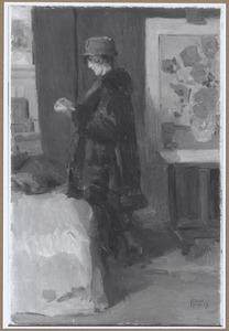 Vrouw lezend naast 'De Zonnebloemen' van Van Gogh