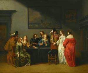 Elegant gezelschap in interieur spelend met kaarten