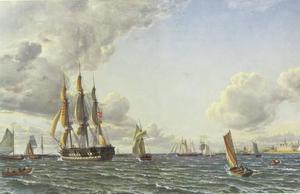 Morgen op het Sont met kasteel Kronborg in de achtergrond