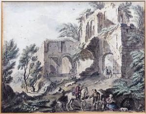 Ruiter, bedelaar en andere figuren bij ruïne