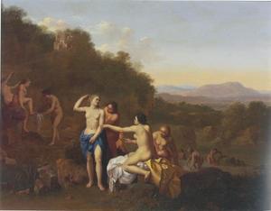Zuidelijk landschap met Diana en haar nimfen bij het baden