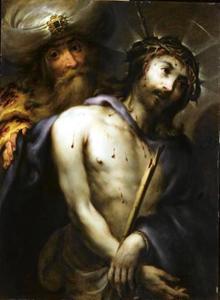 De doornengekroonde, gegeselde Christus en Simon van Cyrene (?)