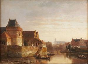 Stadsgezicht met kleine schepen op een gracht