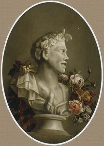 Stilleven met bloemen rondom een buste van Pan