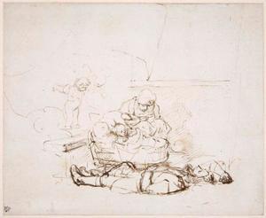 Slapende Heilige Familie met de engelen die in Jozef's droom verschijnen (Mattheus 2:13)