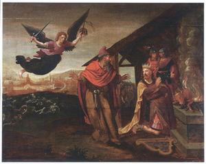 De profeet  Gad komt tot David en laat hem kiezen uit drie straffen; God zendt een engel die drie dagen van pest over Israel brengt  (2 Samuel 24:18-25)