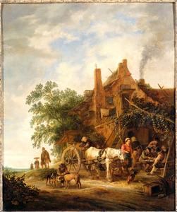 Boerenherberg met paard en wagen