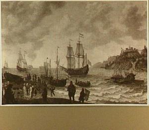 Hollandse en Engelse schepen fouragerend op vreemde kust