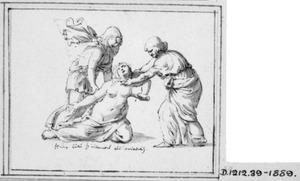 Lucretia doodt zichzelf met het zwaard, ondersteund door twee vrouwen