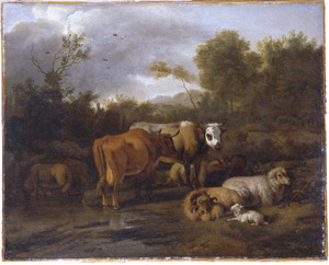 Landschap met vee bij een drenkplaats