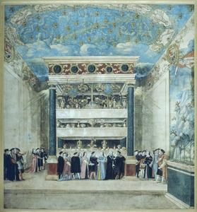 Interieur van het kasteel te Binche tijdens de feesten voor Filips II in augustus 1549: de Betoverde Kamer