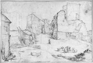 Voorterrein van kasteel Brederode met rechts de ruïne van de poort, in het midden de vervallen aanbouw van de poort en links achter de kasteelruïne, vanuit het zuiden