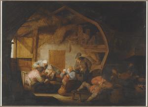 Rokende, drinkende en kaartspelende boeren in een interieur