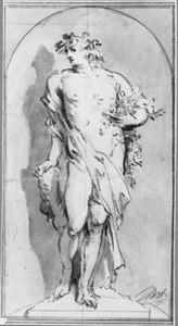 Allegorische figuur in een nis, mogelijk Bacchus