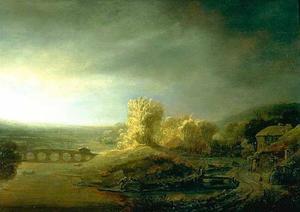 Landschap met een brug met zeven bogen