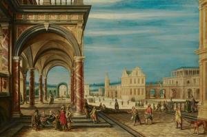 Imaginair stadsplein met paleisarchitectuur en menselijke bedrijvigheid
