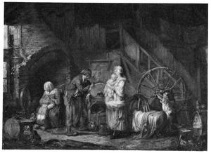 Interieur met scharensliep en zijn familie