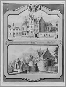 Het Gemeenlandshuis van Delfland (boven) en de Waterslootse poort (onder) in Delft