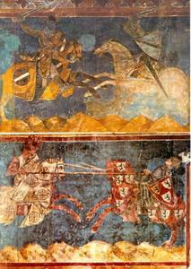 Toernooi scenes in het Palazzo Communale