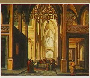 Kerkinterieur met de besnijdenis van Christus