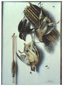 Trompe l'oeil van twee kwartels en een ijsvogel, hangend voor een witte wand