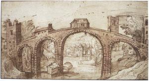 Rivierlandschap met grote brug en toren