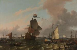 Het fregat 'Brielle' op de Nieuwe Maas voor Rotterdam