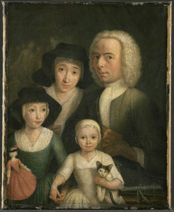 Zelfportret van Hendrik Spilman (1736-1784) met Suzanna van Bommel en twee dochters