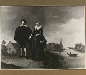 Portret van een echtpaar in een landschap